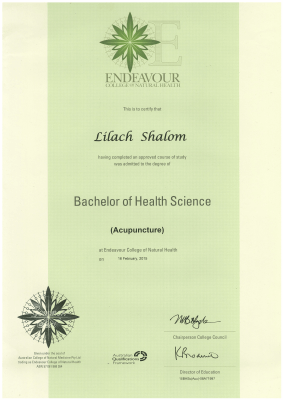 Lilach Shalom Traditional Chinese Medicine - Bachelor of Health Science.